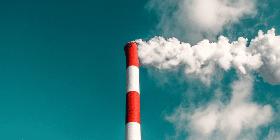 Greenhouse gases exhausting from smokestack